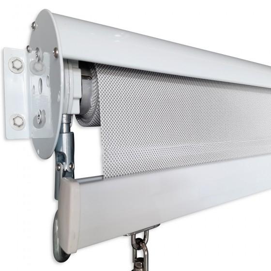 Pearl Grey Custom Sunscreen Roller Blind with Aluminium Hood