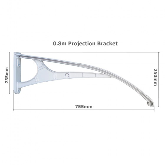Single Module 0.8m Projection Aluminium Frame Awning Clear Polycarbonate