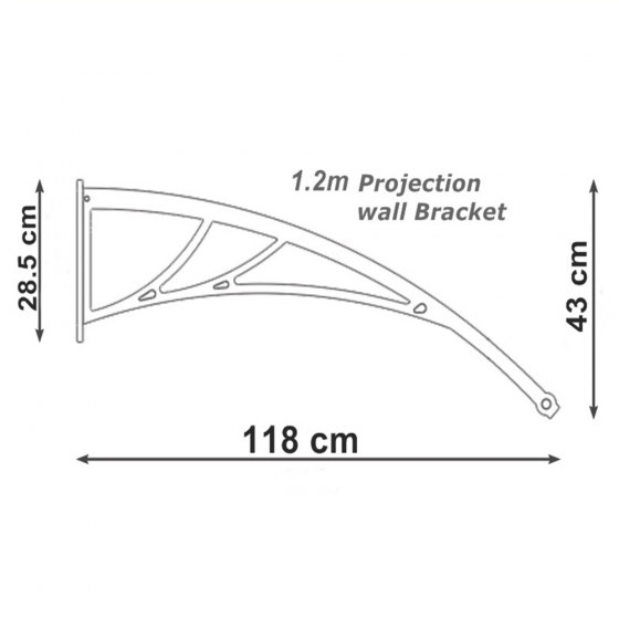 Wall Mounted Fiber-Reinforced Plastic Brackets 1.2m Projection