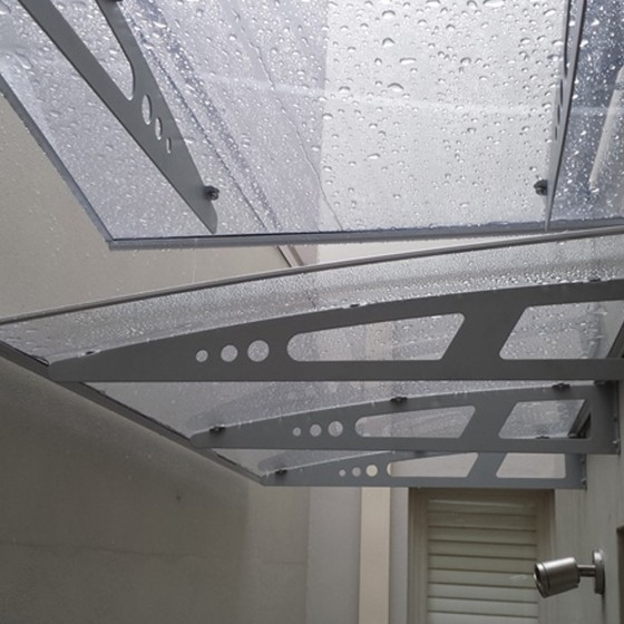 1m x 1.4m Aluminium Frame Clear Polycarbonate Awning