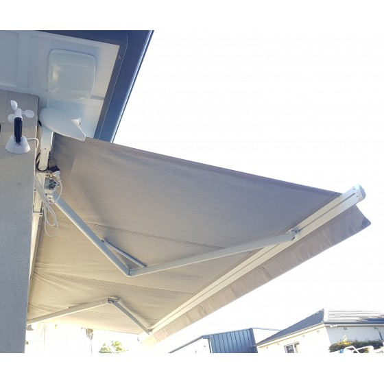 Cream Motorised Semi Cassette Retractable Awnings