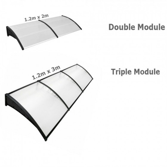 1.2m Projection Clear Polycarbonate Awnings