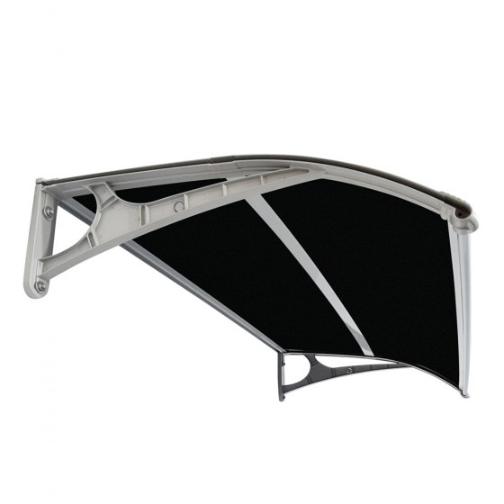 Single Module 0.8m Projection Aluminium Frame Awning Dark Polycarbonate